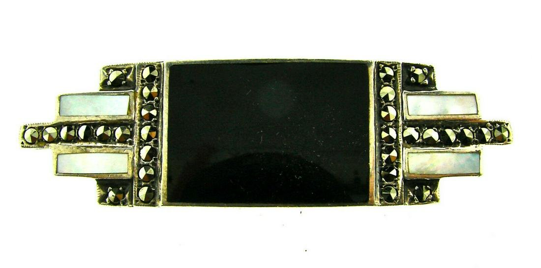 EUROPEAN Sterling Silver, Onyx, Mother of Pearl &