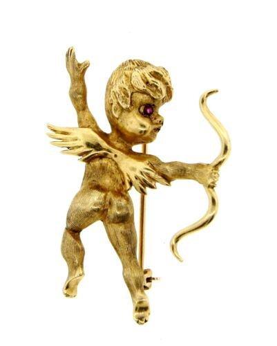 CHARMING 14k Yellow Gold & Ruby Cupid Pin!