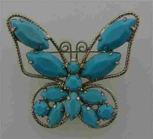 WOW Glass & Metal Butterfly Pin Costume Jewelry