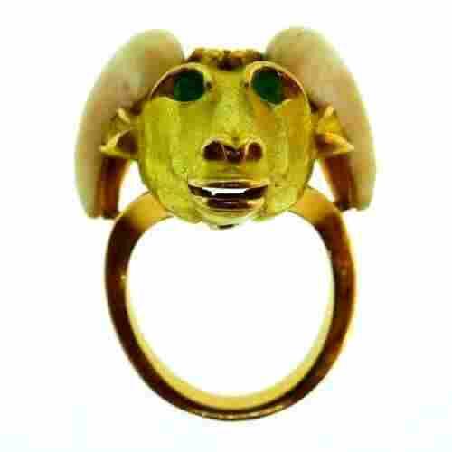 FRENCH 18k Yellow Gold, Bakelite & Cabochon Emerald