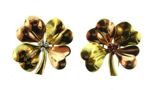 UNIQUE Cartier 14k Yellow & Rose Gold, Diamond & Ruby