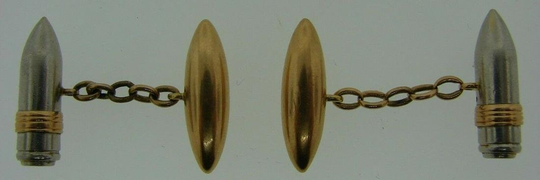 COOL 14k Yellow & White Gold Bullet Cuflinks Circa