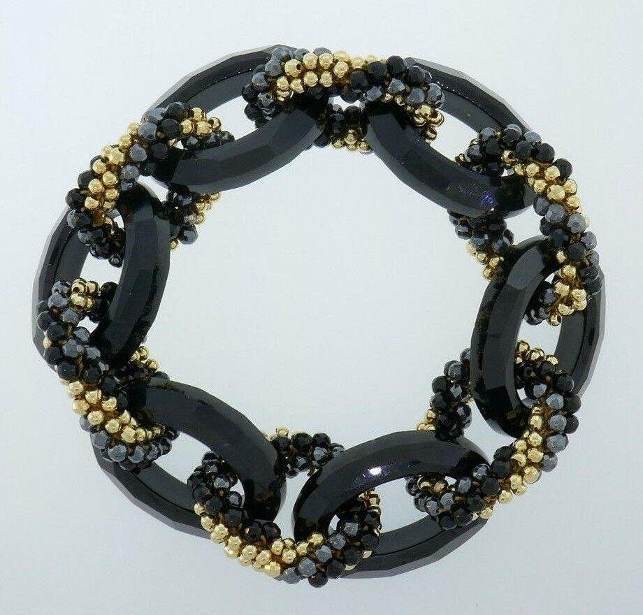 Meredith Frederick Onyx and Gold Beads Bracelet