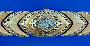 LOVELY 14k Yellow Gold Diamond Bracelet Watch