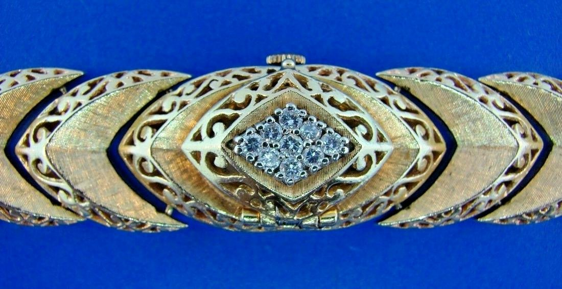 LOVELY 14k Yellow Gold & Diamond Bracelet Watch