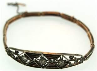 NEED IT c1900 Russian Filigre Bracelet With Diamonds