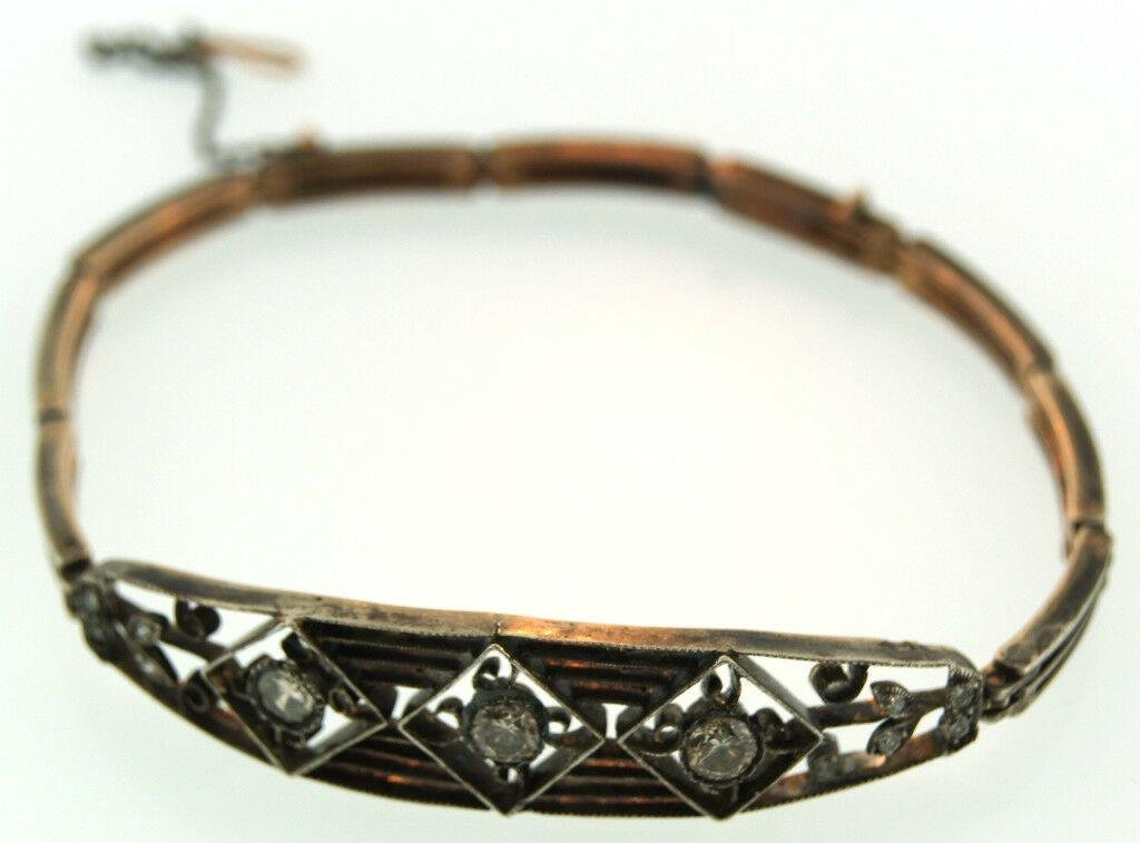 NEED IT! c.1900 Russian Filigre Bracelet With Diamonds