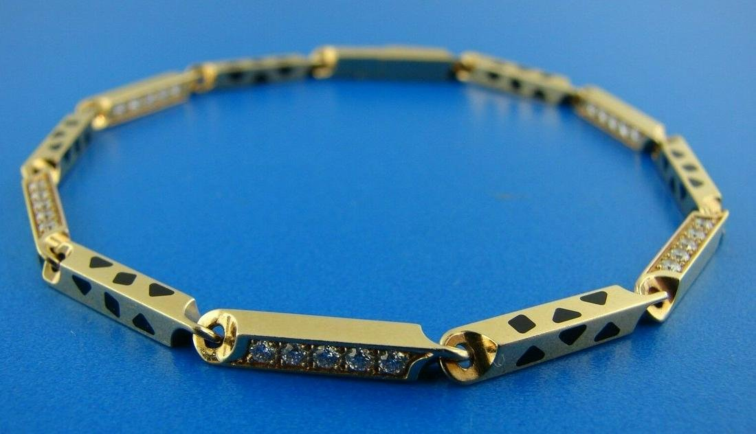 CARTIER 18K 750 YELLOW GOLD ENAMEL DIAMOND LINK CHAIN