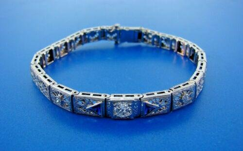 14k White Gold, Diamond & Sapphire Bracelet