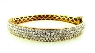 RIU 18K YELLOW GOLD DIAMOND BANGLE STAMPED STYLISH