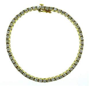 1960s Vintage Classic 14K Yellow Gold Diamond Tennis