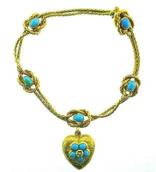 ANTIQUE 18k Yellow Gold Turquoise Heart Locket
