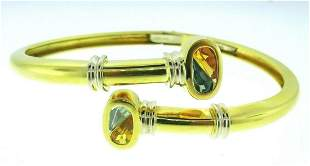 18k Yellow and White Gold Vintage Bangle