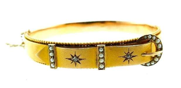 ANTIQUE 9k Yellow Gold, Seed Pearl & Rose Cut Diamond