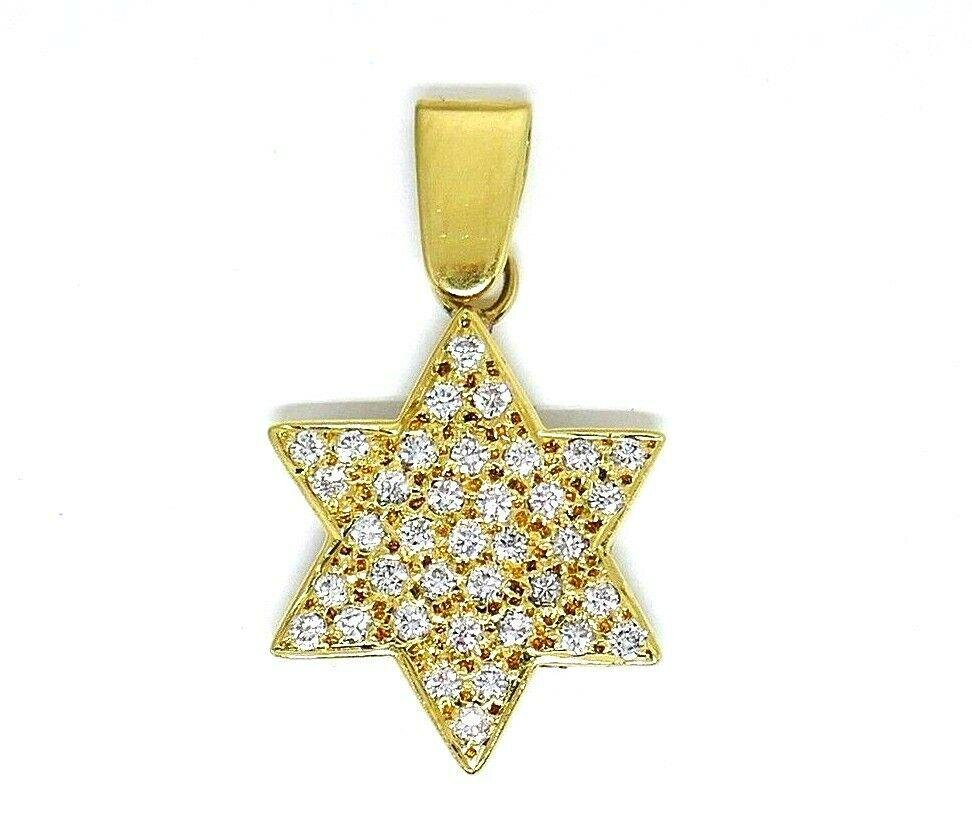Vintage 18k Yellow Gold Diamond Star of David Charm