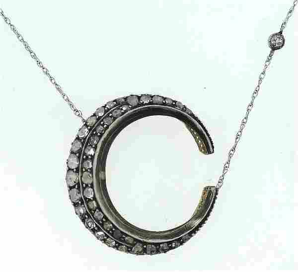 C.1870 ROSECUT DIAMOND SILVER 14K GOLD CRESCENT MOON