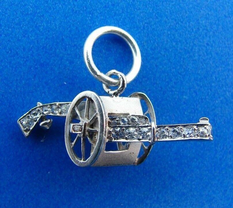 UNIQUE Platinum & Diamond Gun on Wheels Charm Antique