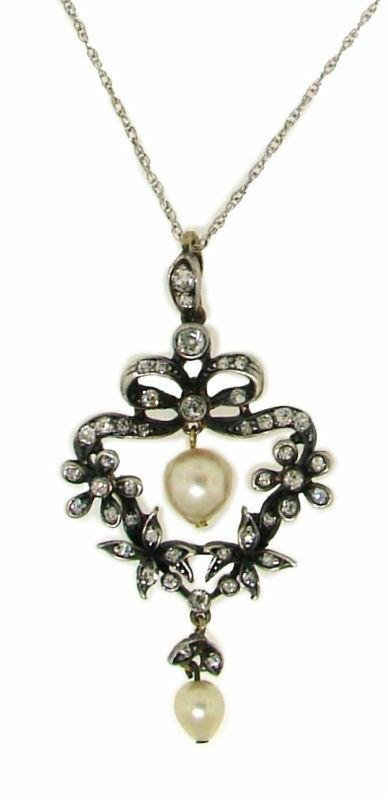 GOLD & SILVER PENDANT WITH DIAMONDS & NATURAL PEARLS