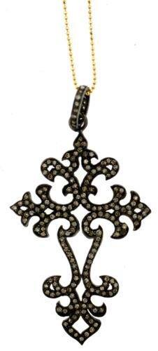 LOVELY Silver, 14k Yellow Gold & Diamond Cross