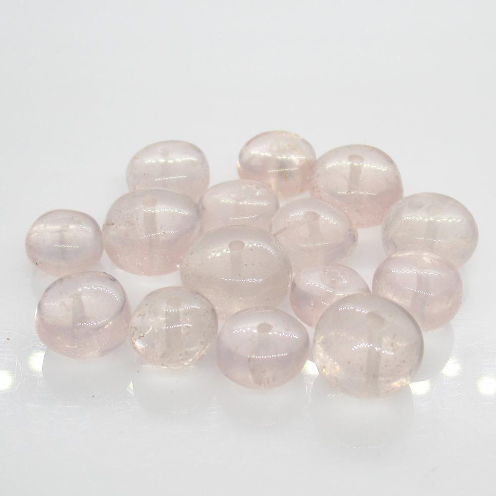 42.09 Ct Natural 15 Drilled Rose Quartz Round Beads