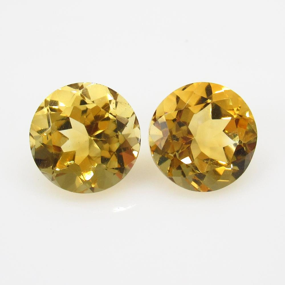 5.56 Ct Natural Yellow Citrine Round Pair