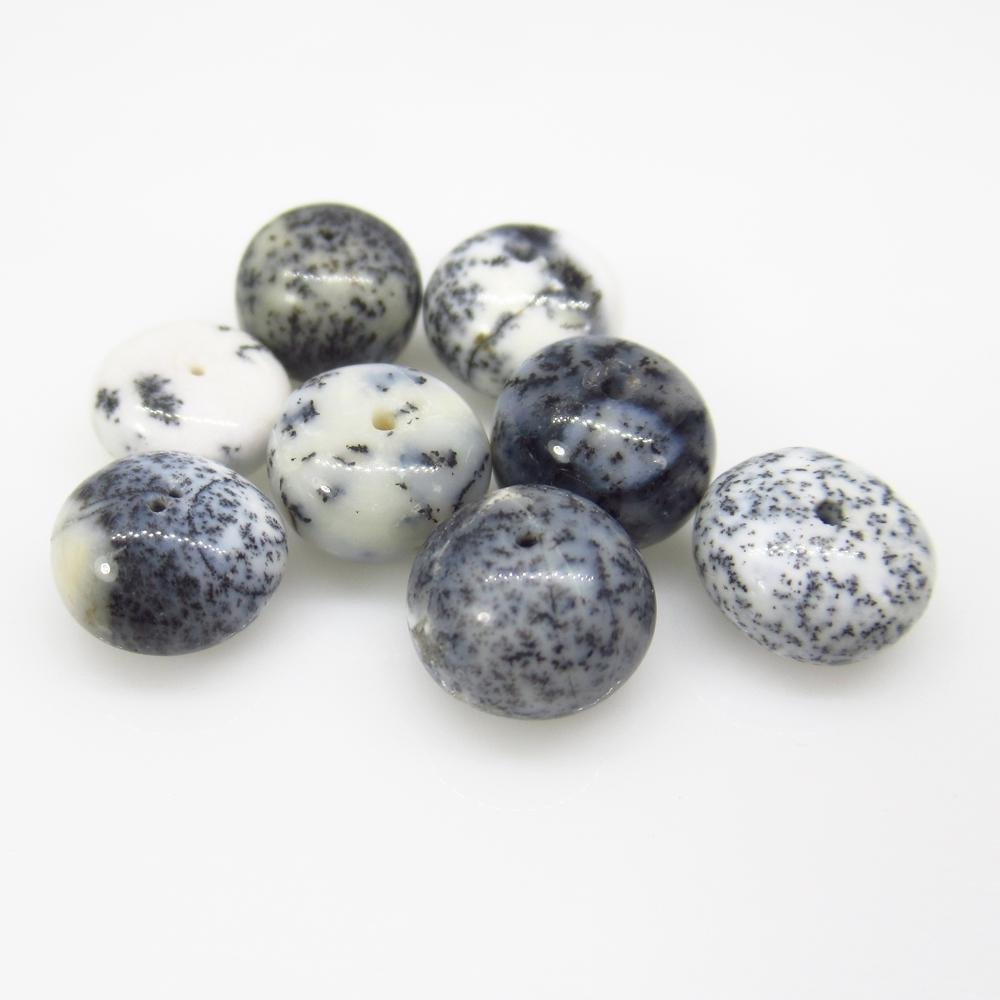 26.16 Ct Natural 8 White Dendrite Opal Round Beads