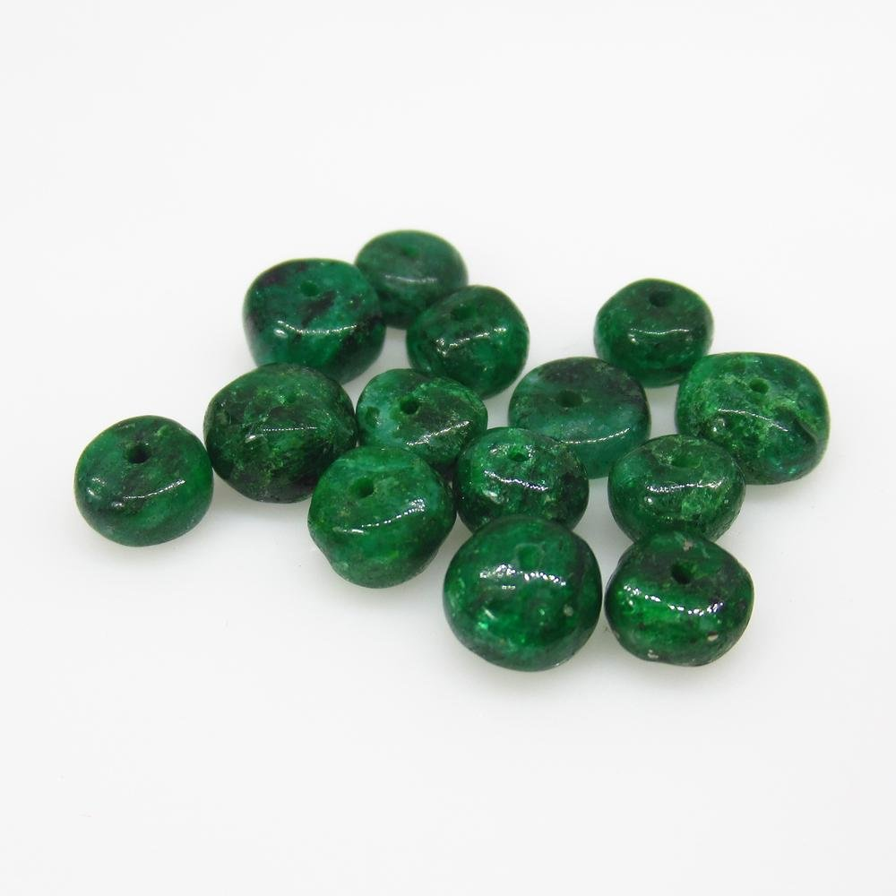11.38 Ct Natural 14 Zambian Emerald Drilled Round Beads
