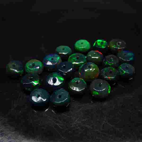 6.06 Ct Natural 21 Drilled Faceted Fire Black Opal