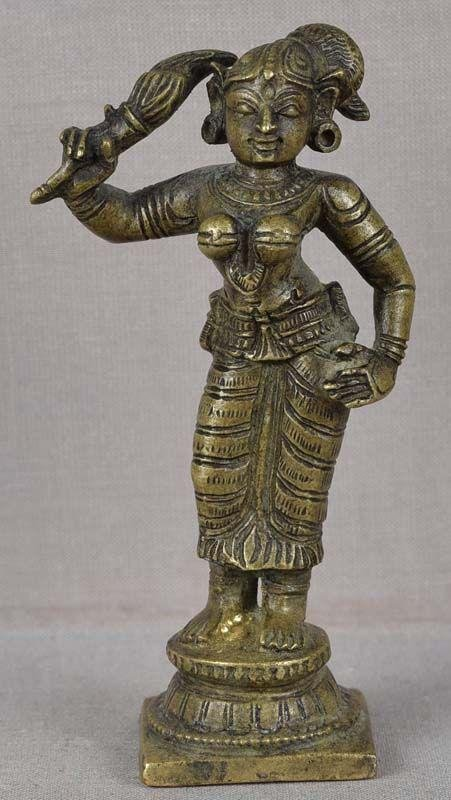 19c Indian bronze SHRUTAKIRTI wife of Shatrughna