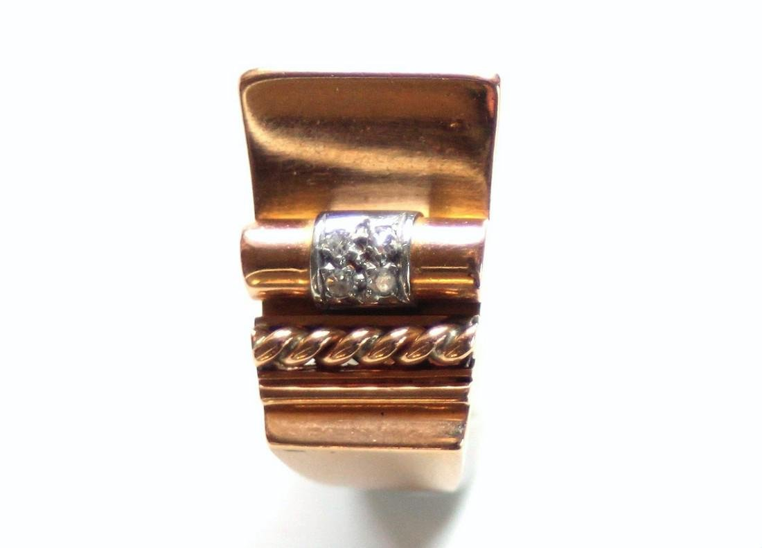 18K French Asymmetrical architectural ring