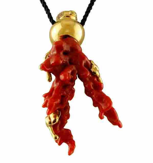24.10 g Red Coral Branch, Diamonds, 18 Karat Yellow
