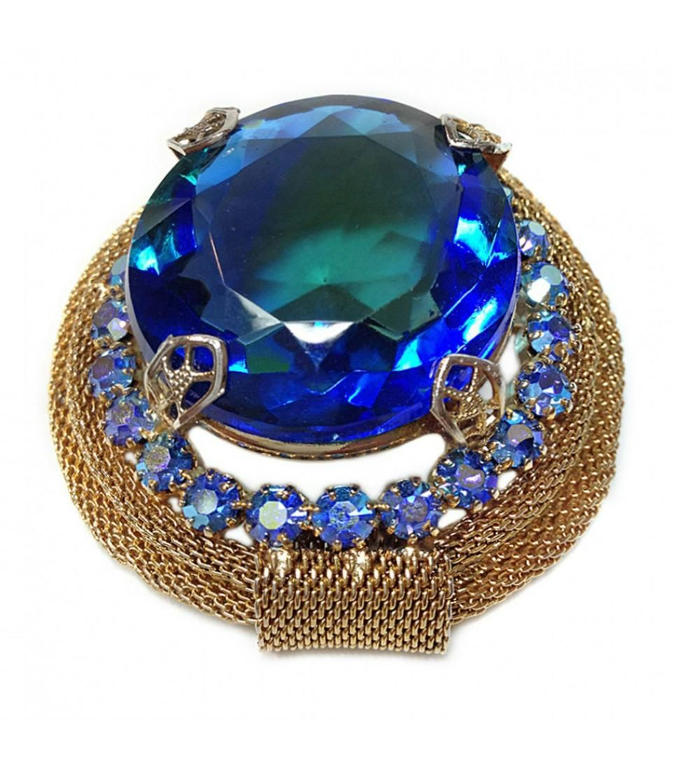 Blue Stone and Gold Mesh Brooch