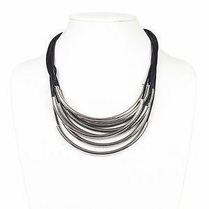 Black and Silver Tubular Multi Strand Necklace