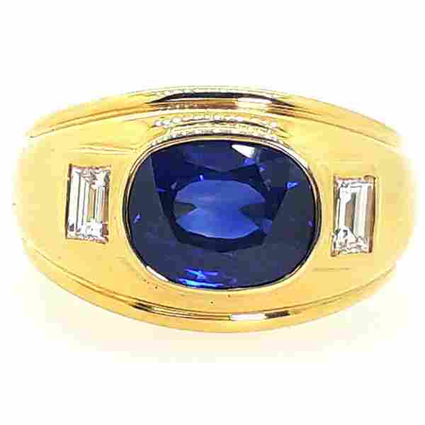 1476 g 18K Yellow Gold BlueSapphire Diamond Ring