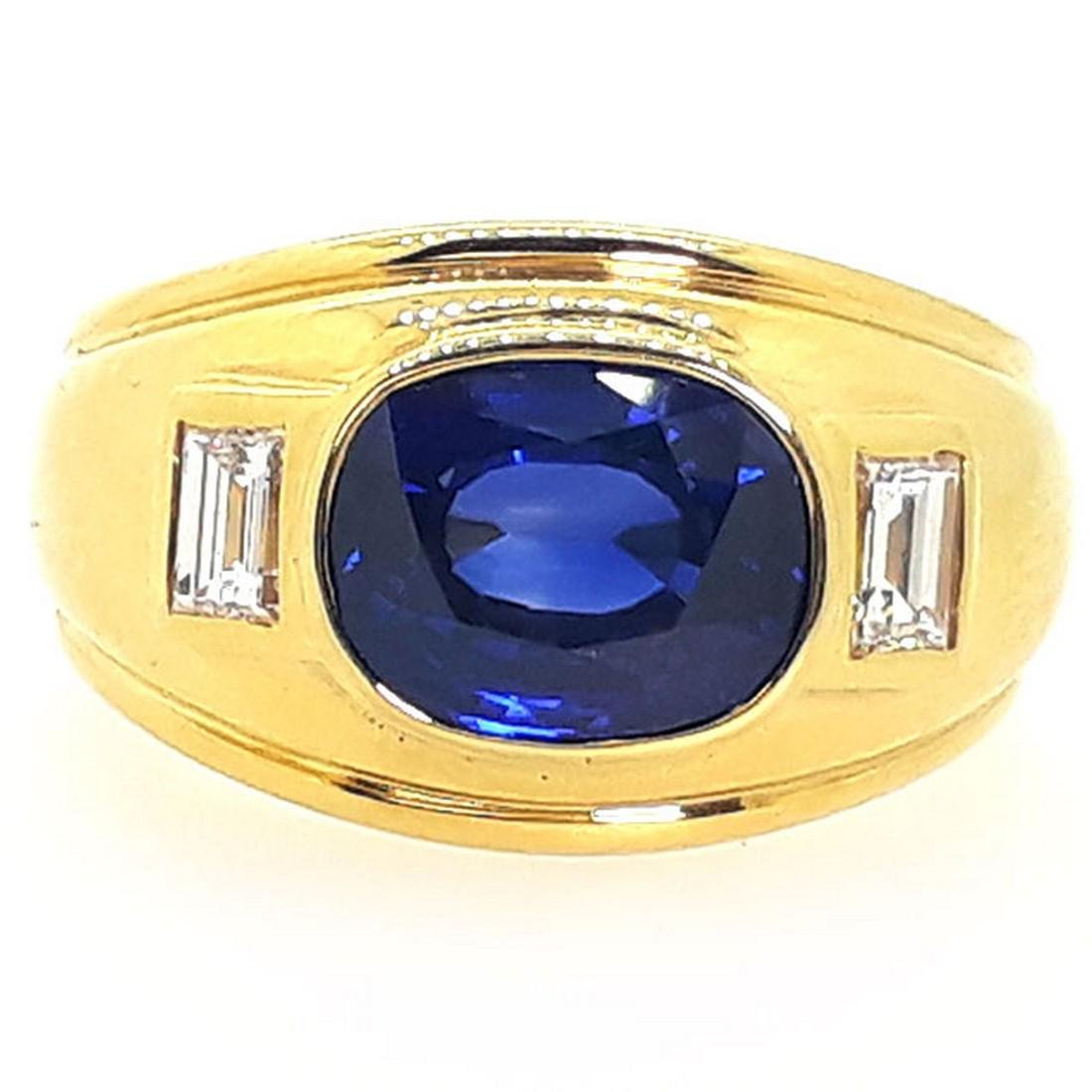 14.76 g 18K Yellow Gold BlueSapphire Diamond Ring