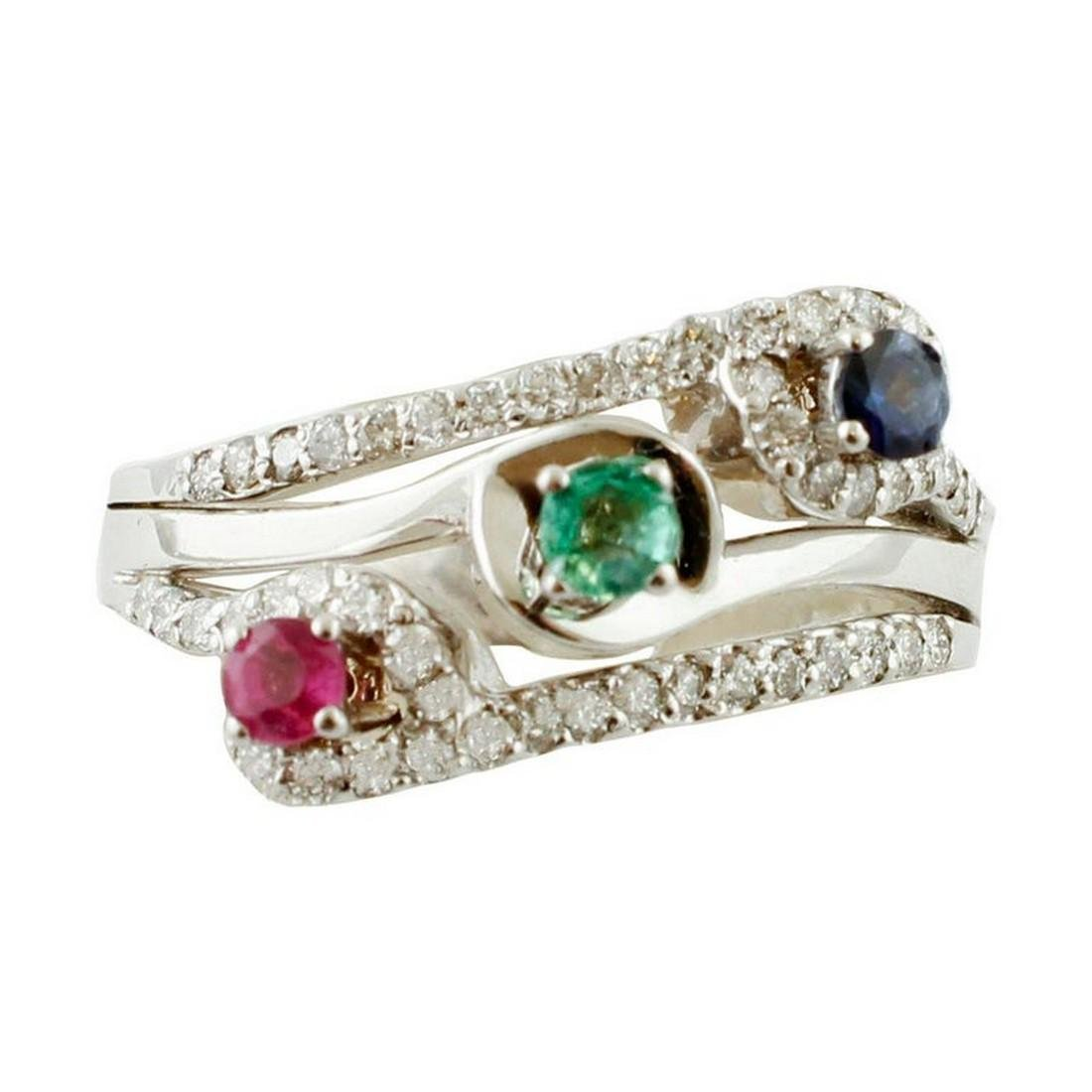 Emerald, Blue Sapphire, Ruby, Diamonds, 18 Karat Gold
