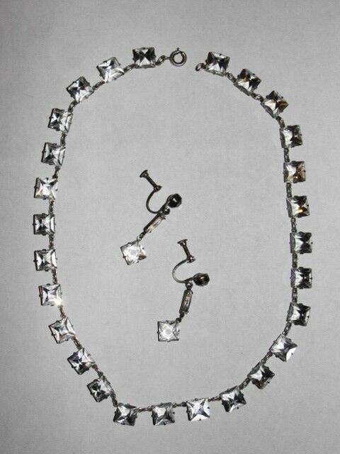 Edwardian Sterling Paste Riviere Deco Necklace Earring