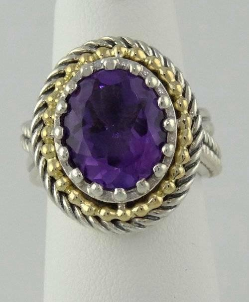 LADIES 925 18k YELLOW GOLD JEANEA 12x10 OVAL PURPLE
