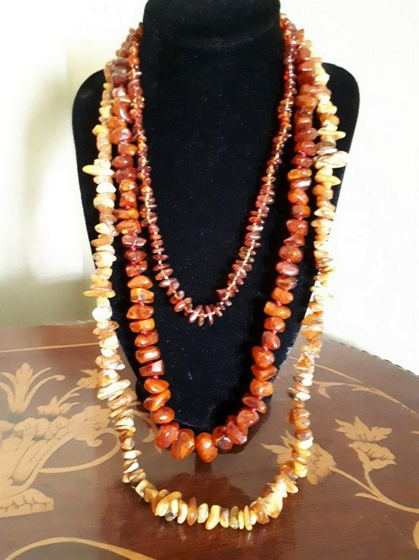 Three Vintage Natural Amber Necklace