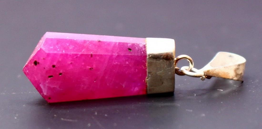 Natural ~ Pink Ruby Pendant With Silver Cap (Gladd