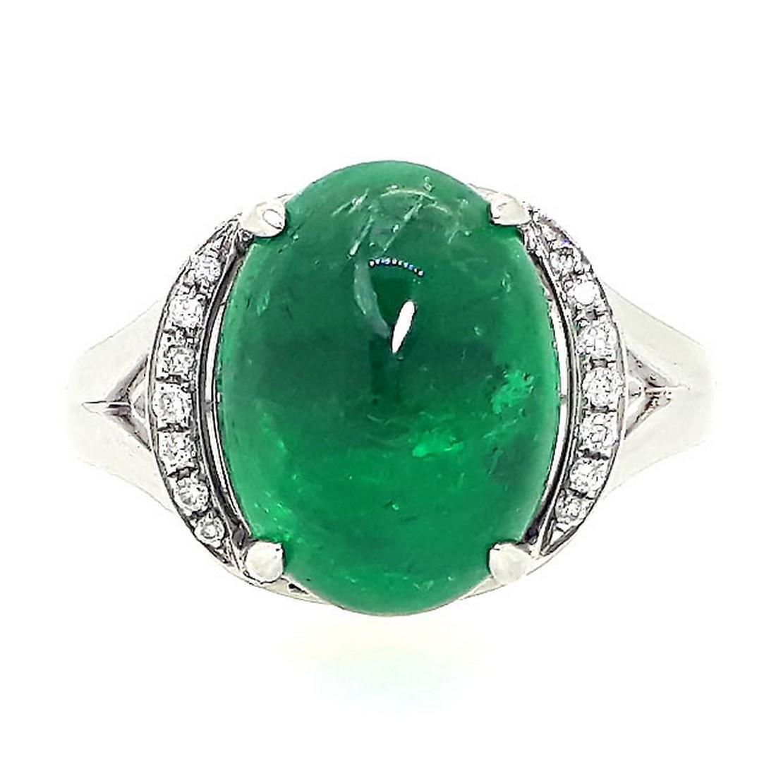5.47 g 18k White Gold Emerald Diamond Ring