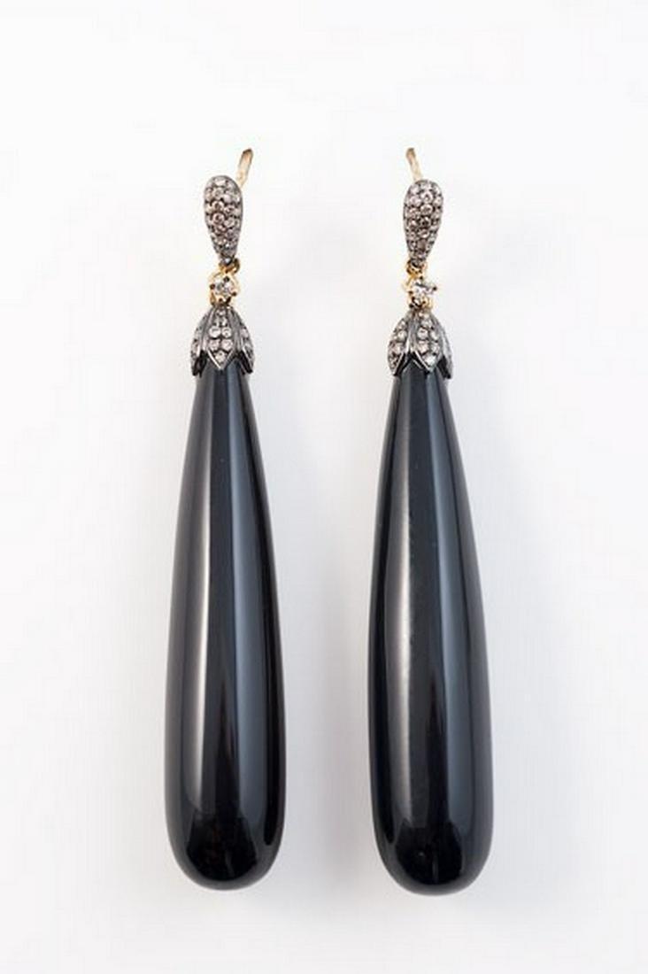 18K French onyx and diamond dangling earrings