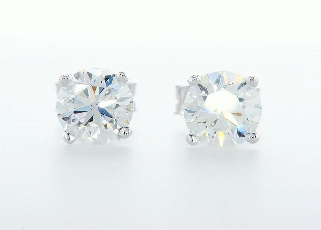 14 k. White gold - Earrings Round Brilliant Diamond