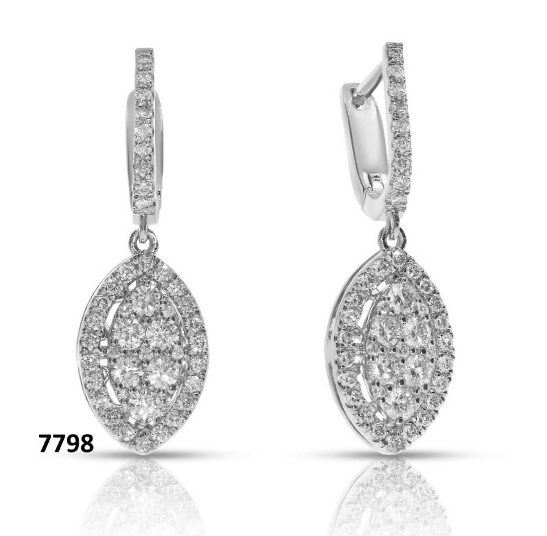 14 kt. White gold - Earrings Diamond -1.29CTW