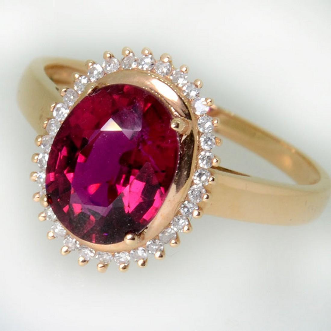 2.17 g Yellow Gold Rubylite Diamond Ring