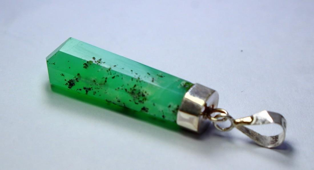 Natural & unheated~ Green Chrysoprase Pendant With