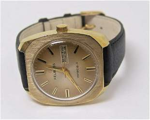 Vintage HELBROS Winding DAY DATE Watch 1970s Cal57