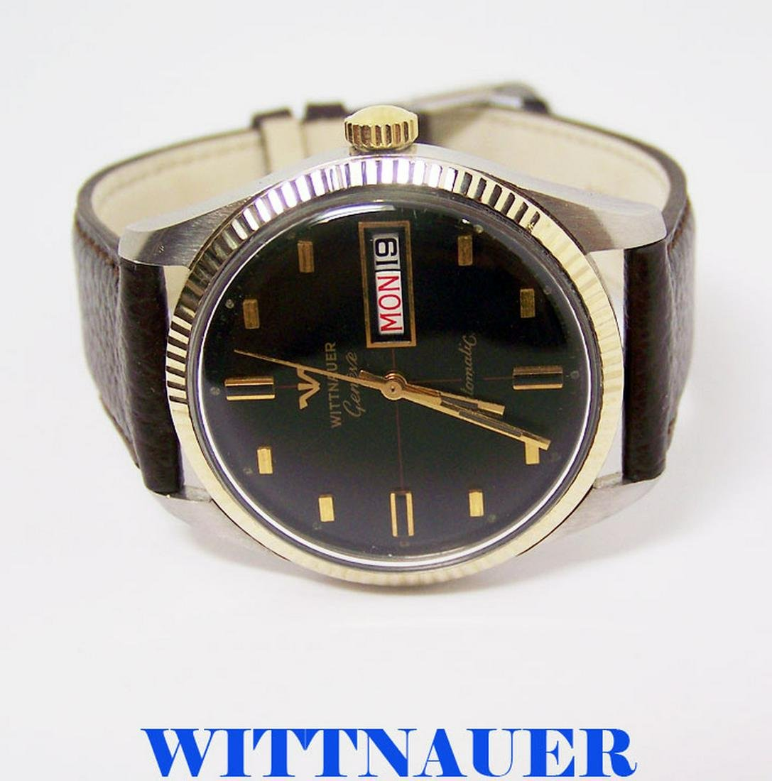 Vintage S/Steel & 10k WITTNAUER GENEVE Automatic Day