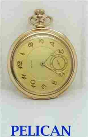 Vintage PELICAN 17J Pocket Watch 1920s Size 13 Good