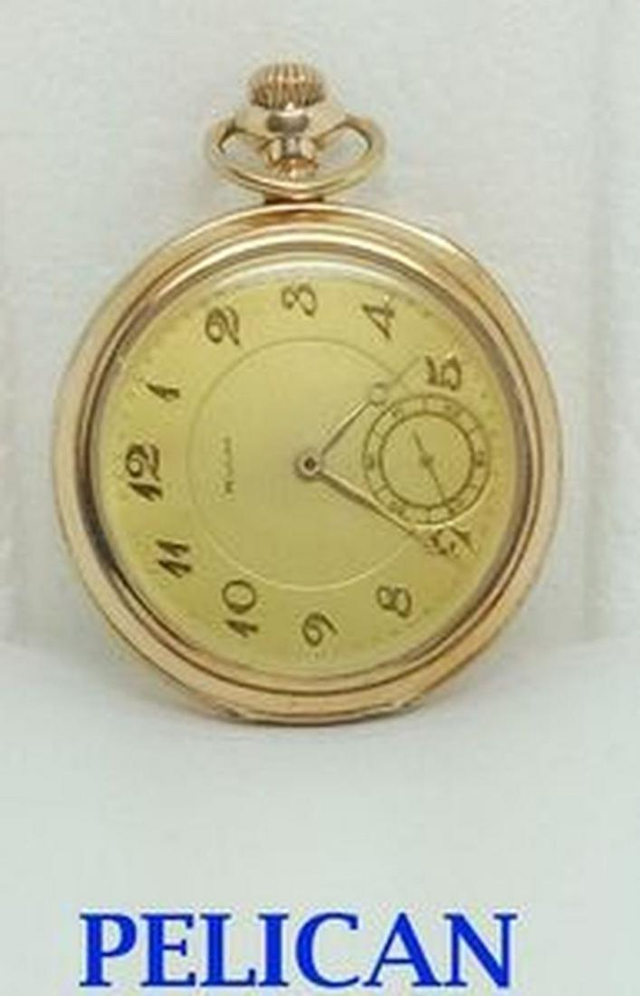 Vintage PELICAN 17J Pocket Watch 1920s Size 13* Good